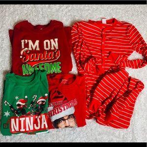 Lot 4 Christmas Holiday T-shirts & Onesie Pajamas